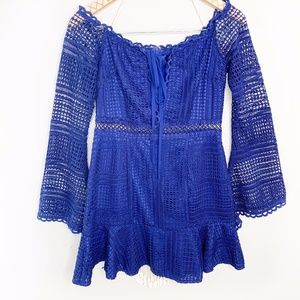Missguided Blue Lace Bell Sleeve Cutout Mini Dress